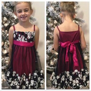 BONNIE JEAN party dress black pink white size 6X